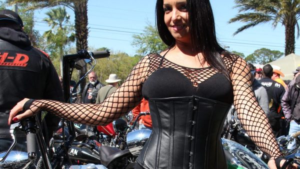 OSB Babe MELVA by Miserable George A beautiful lady attending Willie's Tropical Tattoo Chopper Show, at Bike Week-2017