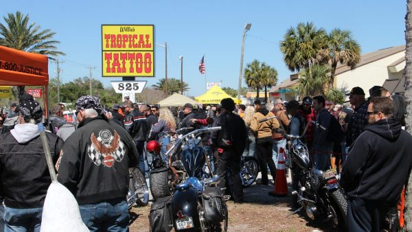 Tropical Tattoo Chopper Show Bike Week Daytona 2017 by Miserable George and ValGal Motorcycles completely engulfed the Tropical Tattoo area!